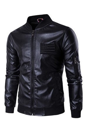 Newchic Men Leather Jackets - Embroidery Pockets Faux Leather Jacket