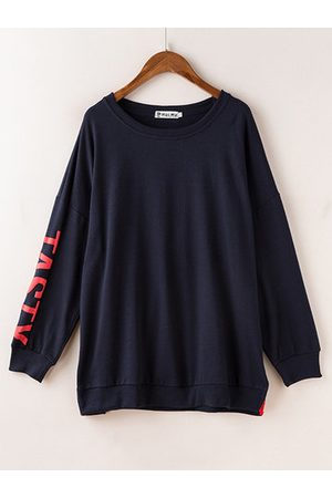 Newchic Casual Long Sleeves Slit Alphabet Shirts