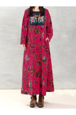 Newchic Women Printed Dresses - O-NEWE Vintage Printed Embroidery Maxi Dress