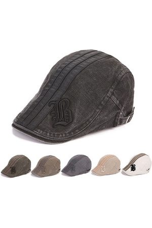 Newchic Men Caps - Cotton Embroidery Letter Stripe Beret Cap