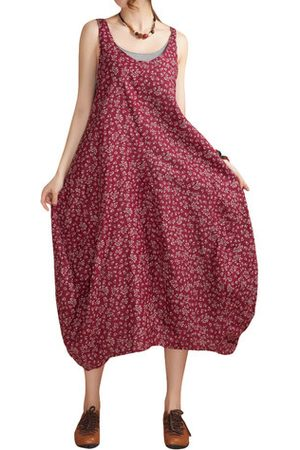 Newchic Women Printed Dresses - O-Newe Tribal Style Strap Floral Printed Maxi Dress