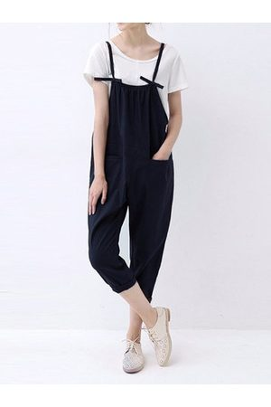 Newchic O-NEWE Casual Solid Spaghetti Strap Pockets Jumpsuit Overalls For Women