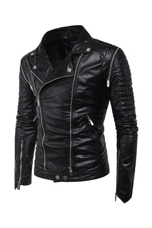 Newchic Men Leather Jackets - Pockets Faux Leather Jacket