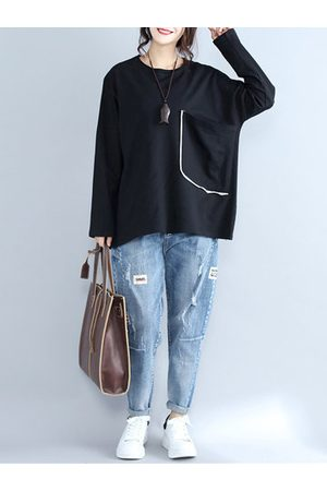 Newchic Women Long Sleeve - Loose Pocket Solid Long Sleeve Tops