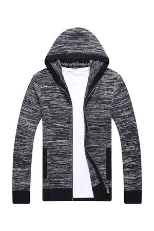 Newchic Mens Zip Up Knitting Hooded Cardigans