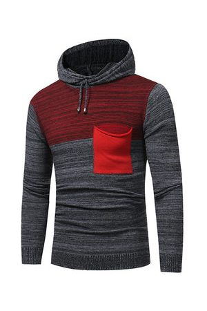 Newchic Mens Fashion Hooded Warm Slim Fit Pullover Knit Sweater