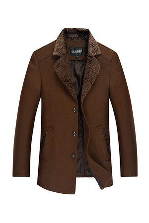 Newchic Men Trench Coats - Mid Long Thick Wool Overcoat