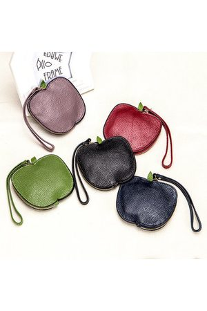 Newchic Cute Apple Shape Genuine Leather Mini Coin Bag Card Holders