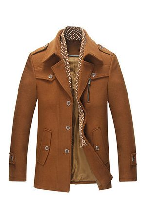 Newchic Men Trench Coats - Mid Long Wool Overcoat