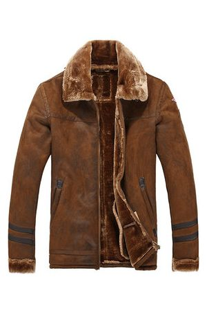 Newchic Boomber Sherpa Chamois Leather Suede Jacket