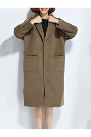 Newchic Pure Color Loose Winter Wool Coat