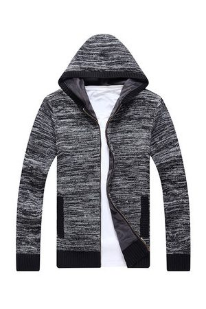 Newchic Men Long Sleeve - Mens Fashion Hooded Long-Sleeved Knit Sweater Cardigan