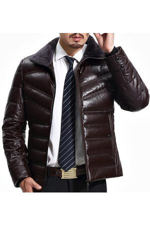 Newchic Men Leather Jackets - Business Casual Fleece Collar Leather Jacket