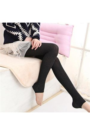 Newchic Women Slim Pants - Thick Tights Vertical Strip Knit Pants Pantyhose Skinny Leg Stretchable Step Foot Stocking Hosiery