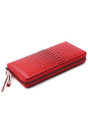 Newchic Women Snake Skin PU Leather Genuine Cow Long Wallet