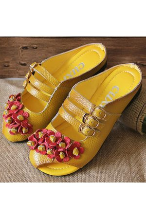 Soft Shoes Lazy Socofy Backless Leather Flower Buckle Flat WIEDH29Y
