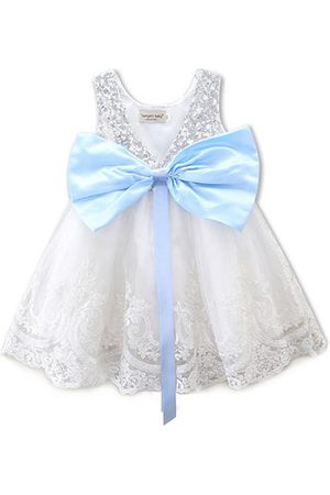 Newchic Girls Printed Dresses - White Girl Bowknot Lace Christmas Dress
