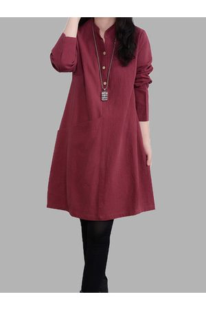 Newchic Women Casual Dresses - Solid Button Long Sleeve Dress