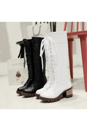Newchic Big Size Pure Color Lace Up Knee High Chunky Heel Boots