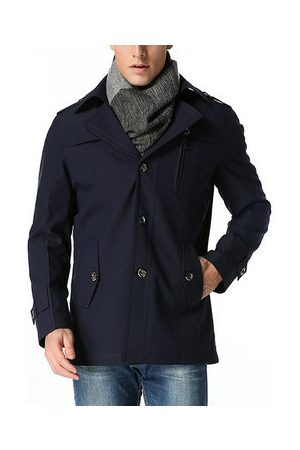 Newchic Mens Casual Turn-Down Collar Mid-long Thin Trench Coat