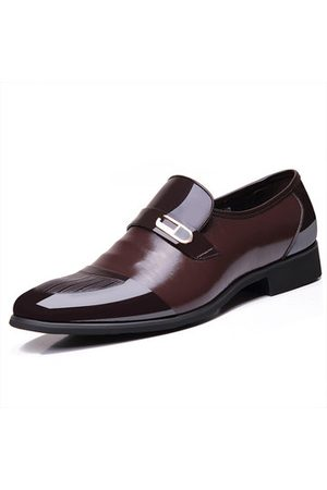 Newchic Men Pointed Toe Color Blocking Splicing Business Dress Leather Shoes