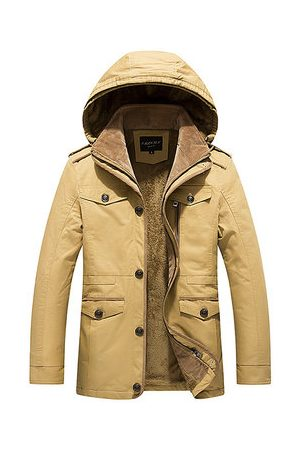 Newchic Winter Outdoor Casual Thicken Warm Multi Pockets Slim Detachable Hood Jacket for Men
