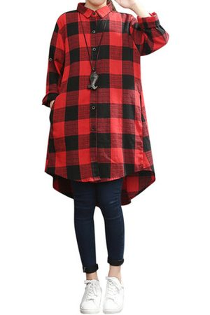 Newchic Women Long sleeves - Loose Plus Size Plaid Lapel Long Sleeve High Low Shirt For Women