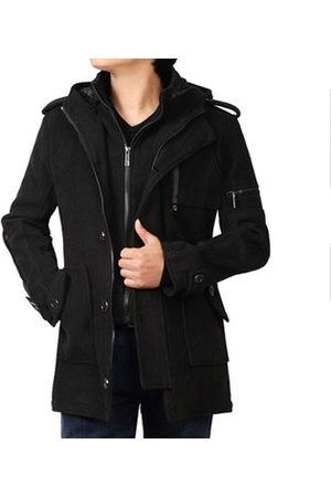 Newchic Mens False Two Pieces Zipper Trench Coat