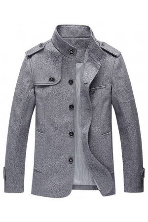 Newchic Mens Fashion Solid Loose Trench Coat