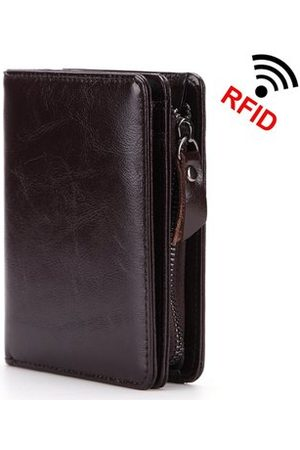 Newchic RFID Antimagnetic Genuine Leather Zipper Wallet