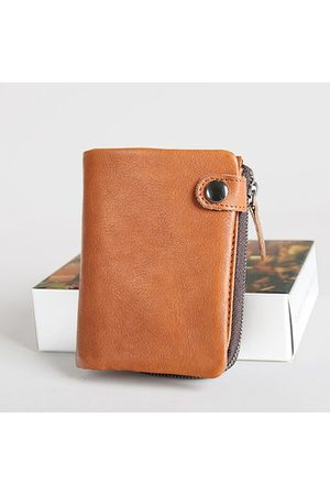 Newchic Genuine Leather Short Coin Bag Wallet For Men
