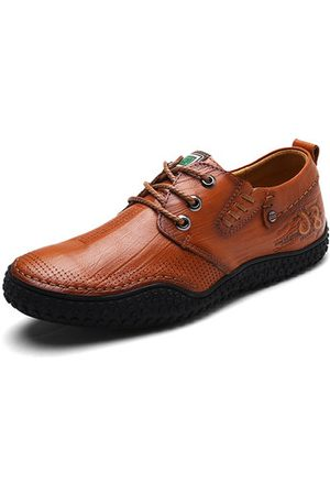 Newchic Men Hand Stitching Soft Genuine Leather Comfy Shoes