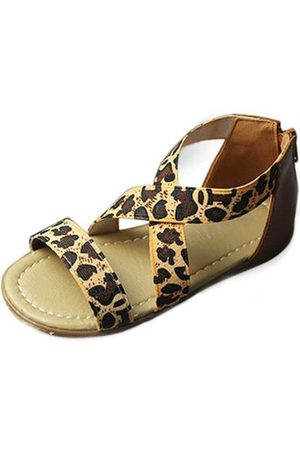 Newchic Girls Sandals - Girls Leopard Kids Cross Elastic Band Rhinestone Sandals