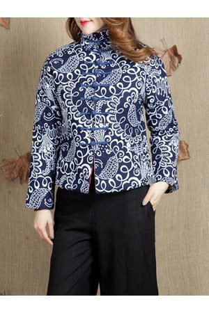 Newchic Women Coats - Ethnic Printed Vintage Thicken Coats