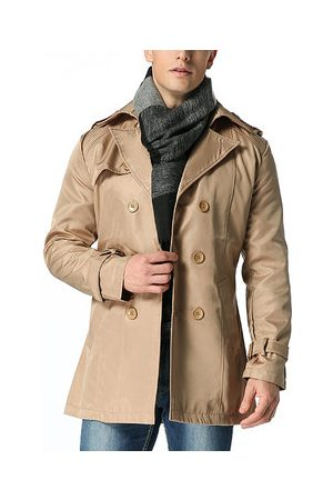 Newchic Mens Fashion Business Solid Slim Fit Mid-long Trench Coat