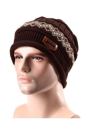 Newchic Male Fleece Lining Knitted Slouch Beanie Hat Double Layers Winter Outdoor Thermal Cap