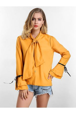 Newchic Solid Bow Tie Flare Sleeve Blouse
