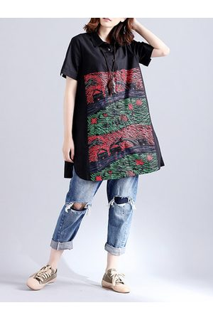 Newchic Casual Loose Button Printed Short Sleeves Blouses For Women