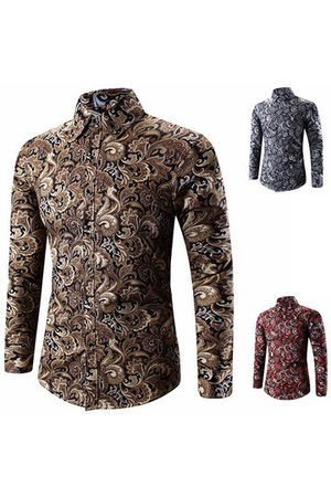 Newchic Plus Size Spring Business Personality Floral Printing Long Sleeve Dress Shirts for Men