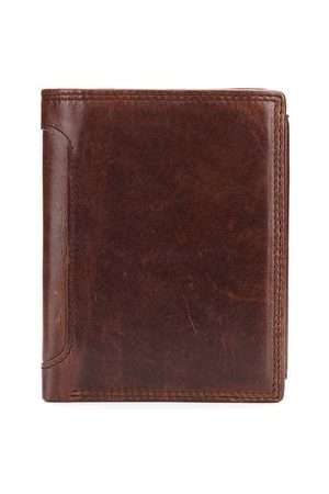 Newchic Men Wallets - Vintage Genuine Leather Tri-fold 12 Card Slots Wallet