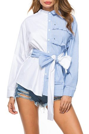 Newchic Bow Striped Patchwork Cotton Casual Shirt