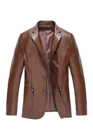 Newchic Chest Pocket Faux Leather Blazers Jacket