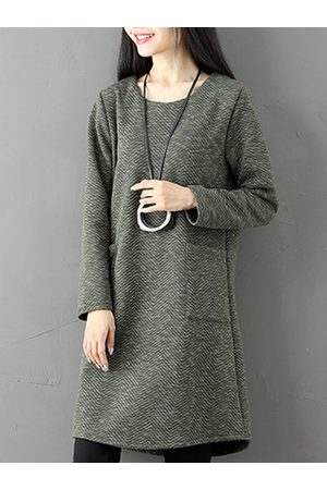 Newchic Casual Pockets Women Thick Dresses