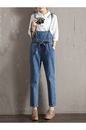 Newchic Casual Solid Strap Denim Jumpsuits With Belt