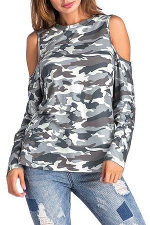 Newchic Women Long sleeves - Cold Shoulder Camouflage Long Sleeve Shirt