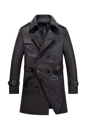 Newchic Men Trench Coats - PU Leather Mid-long Trench Coat