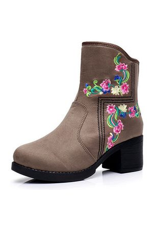 Newchic Block Embroidered Retro Ankle Boots