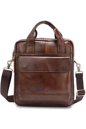 Newchic Men Laptop Bags - Vintage Genuine Leather Business Crossbody Bag