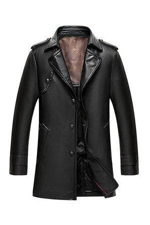 Newchic Men Trench Coats - PU Leather Solid Color Mid-long Trench Coat