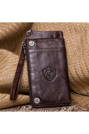Newchic Men Wallets - Vintage Genuine Leather Two fold 13 Card Slot Wallet